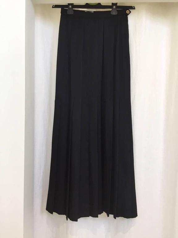 Black Vintage  80s CHANEL black silk pleat skirt For Sale