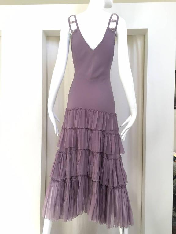 "Vintage John Galliano lavender silk Summer  dress with velvet ribbon strap.  Bust: 34""/ W: 28""/ Hip: 30""/ length: 52"" Size 4/ SMALL"