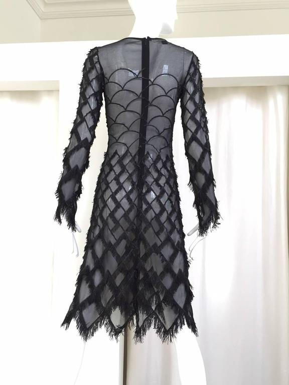 90s Versus black silk sheer eyelash fringe dress In Good Condition For Sale In Beverly Hills, CA
