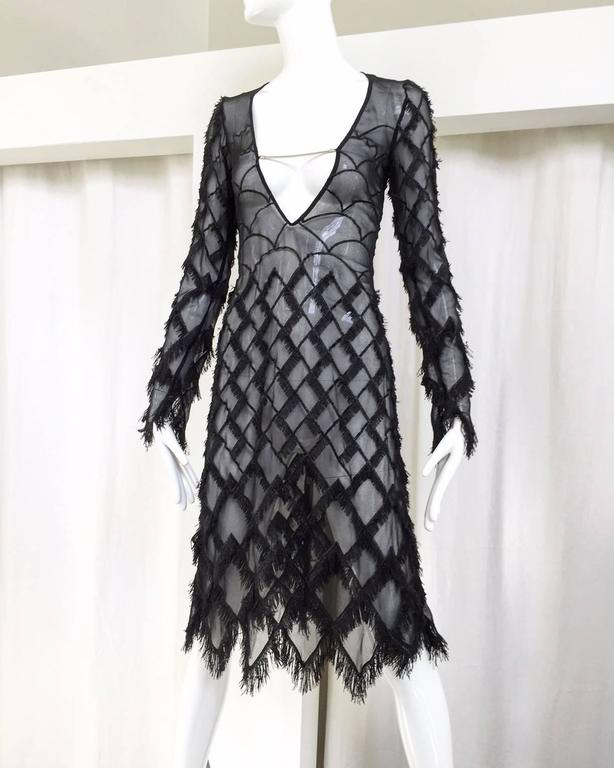 Black 90s Versus black silk sheer eyelash fringe dress For Sale