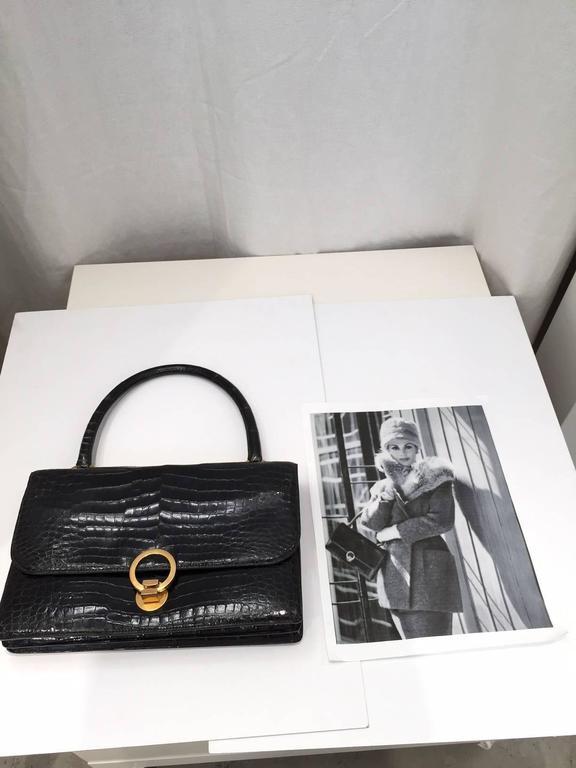 Gray Hermes Vintage crocodile purse, 1960s  For Sale