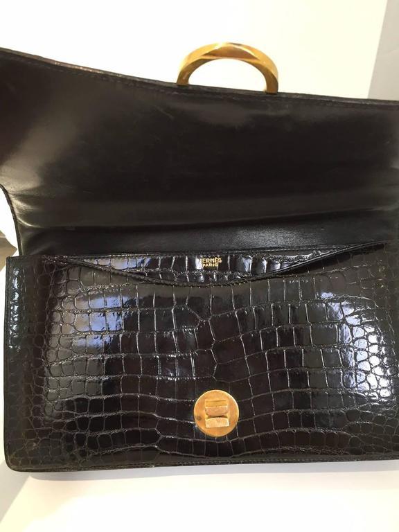 Women's Hermes Vintage crocodile purse, 1960s  For Sale