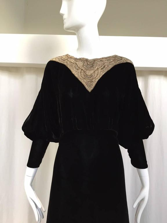 1930s Black Velvet evening gown with beaded collar 2