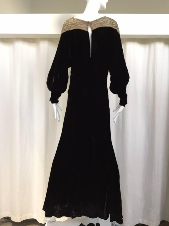 1930s Black Velvet evening gown with beaded collar 3