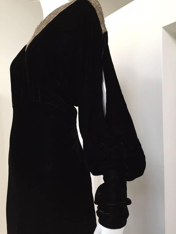 1930s Black Velvet evening gown with beaded collar 4