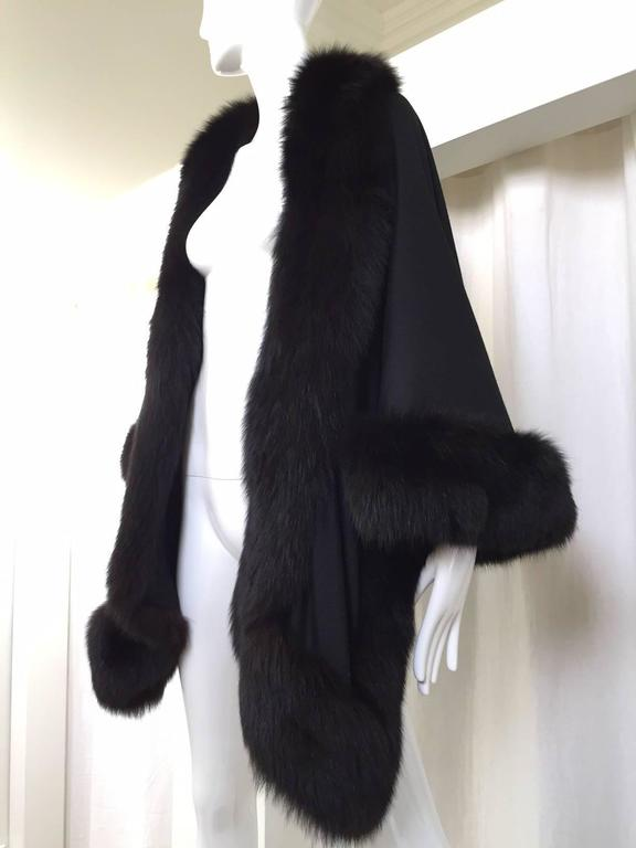 Women's 1980s Black Wool Shawl With Fox Trim For Sale