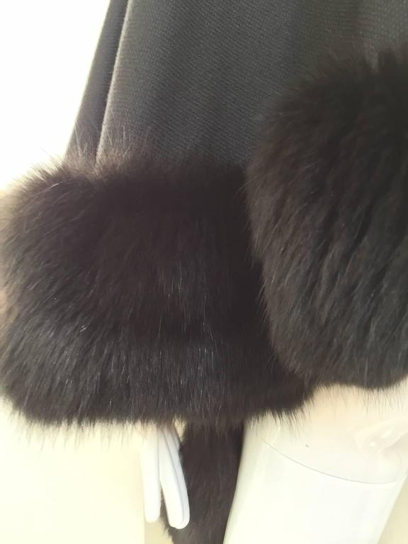 1980s Black Wool Shawl With Fox Trim For Sale 1