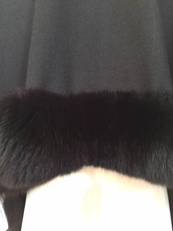 1980s Black Wool Shawl With Fox Trim For Sale 3