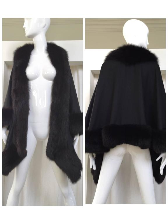 1980s Black Wool Shawl With Fox Trim For Sale 4