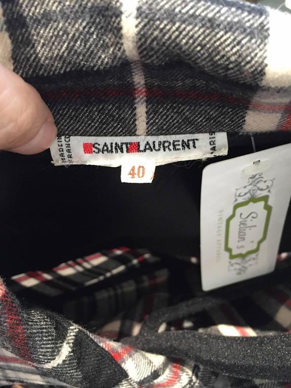 1970s SAINT LAURENT flannel  plaid shirt and skirt set 4