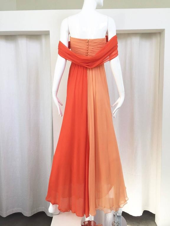 Beautiful vintage Bill Blass silk chiffon in Tangerine and light yellow strapless dress with shawl attached. Size: 6  Note: there is faint tiny water stains ( you can't barely see it) see pic attached. This Gown has been freshly dry cleaned.