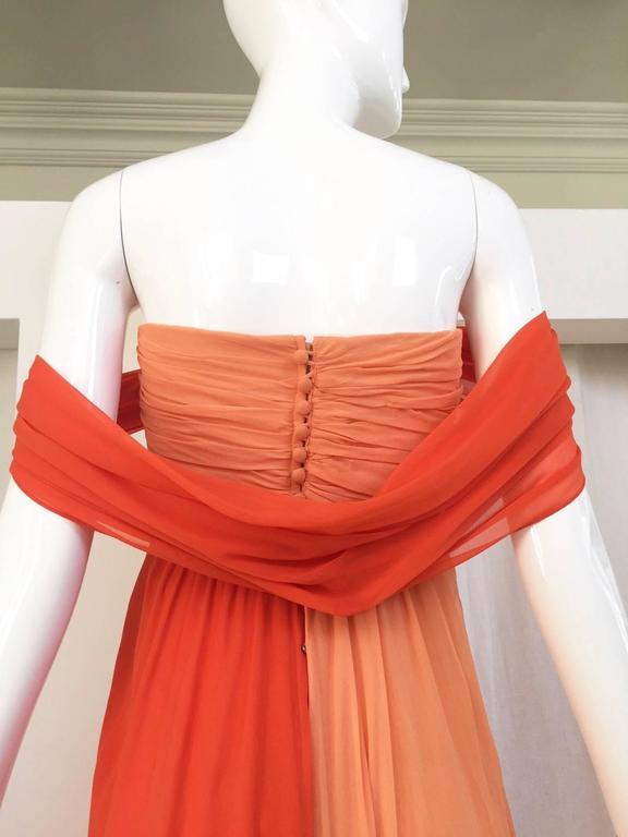 Women's 1990s Bill Blass Tangerine Orange Silk Chiffon Strapless Dress with Shawl For Sale
