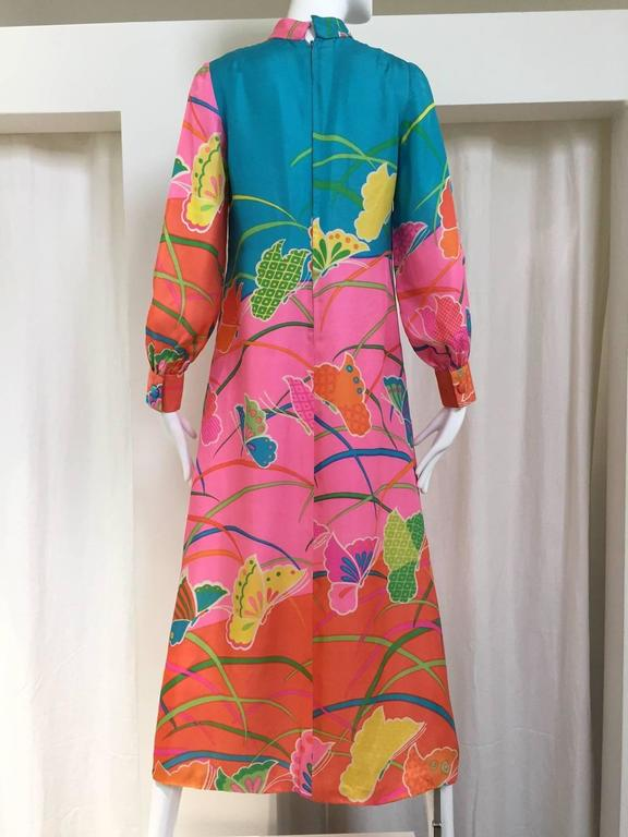 1970s Hanae Mori Pink and Teal Butterfly Print Silk Maxi Vintage 70s Dress 3