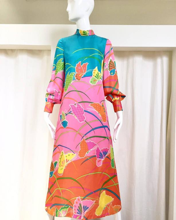 1970s Hanae Mori Pink and Teal Butterfly Print Silk Maxi Vintage 70s Dress 2