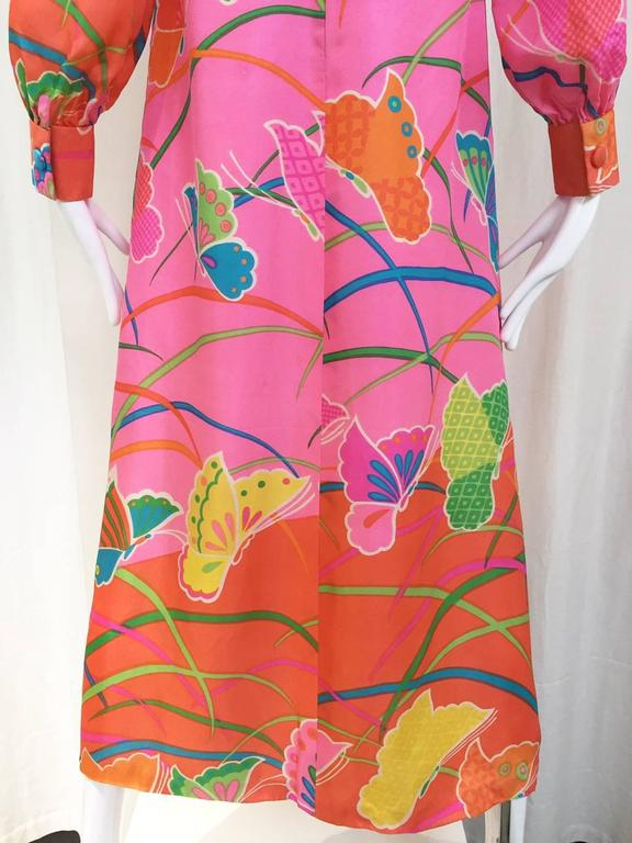 1970s Hanae Mori Pink and Teal Butterfly Print Silk Maxi Vintage 70s Dress 5
