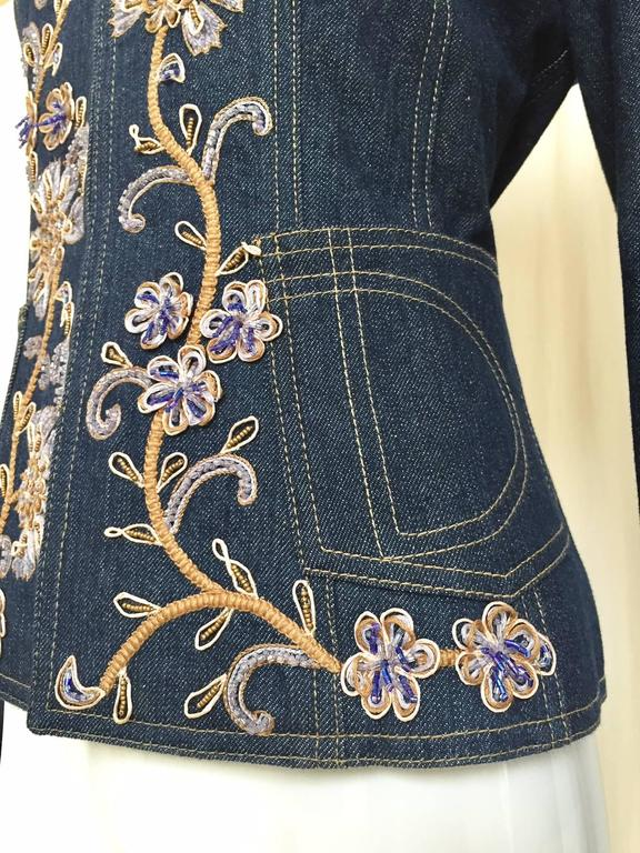 Christian Dior by John Galliano denim embroidered fitted jacket 2
