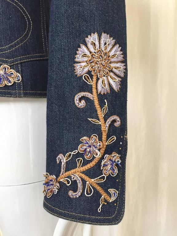 Christian Dior by John Galliano denim embroidered fitted jacket 3