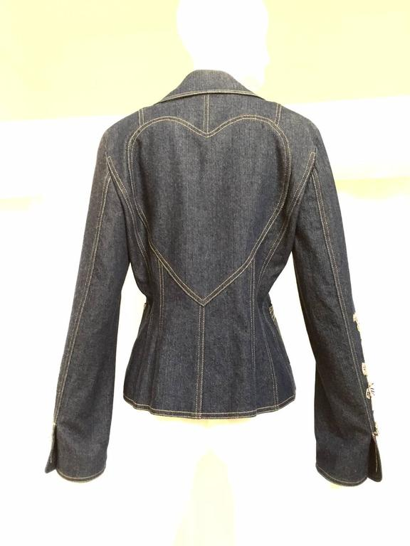 Christian Dior by John Galliano denim embroidered fitted jacket 4