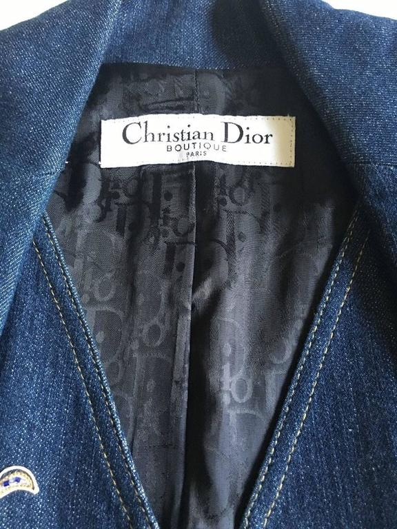 Christian Dior by John Galliano denim embroidered fitted jacket 5