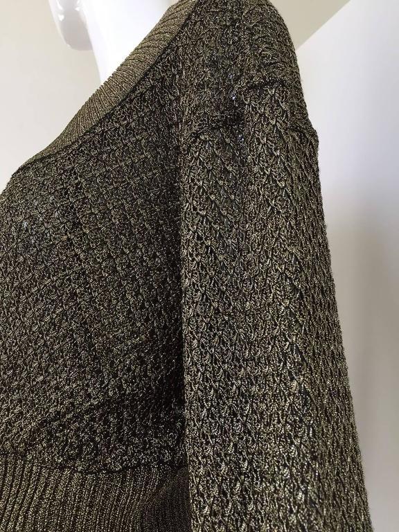 80s ALAIA gold metallic knit top and skirt set 2