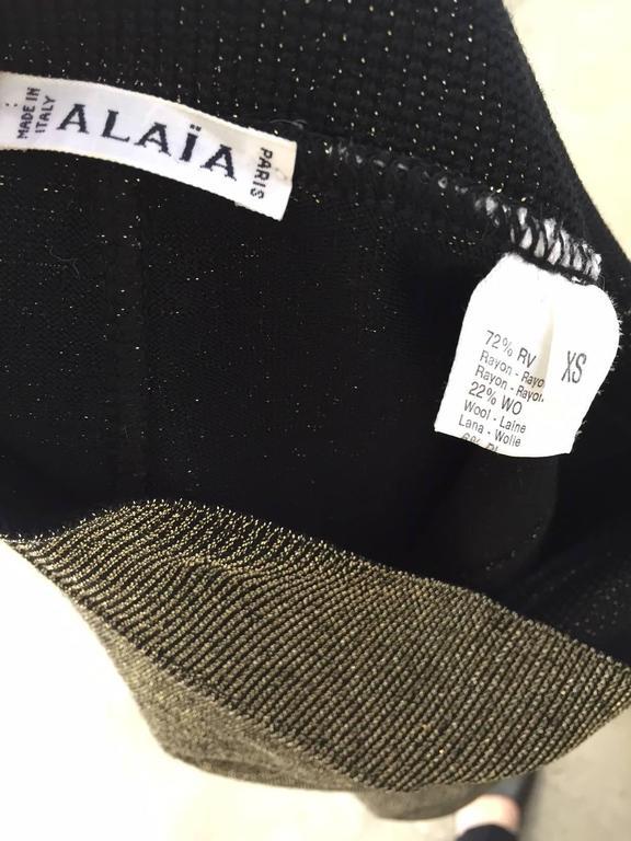 80s ALAIA gold metallic knit top and skirt set 3