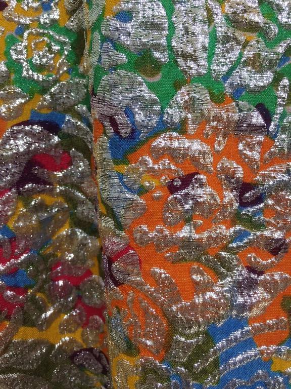 Women's 1960s Multi Color Metallic Silk Brocade Dress with Embellishment For Sale