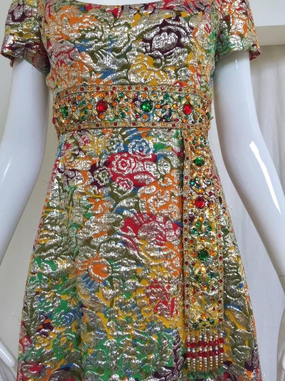 1960s Multi Color Metallic Silk Brocade Dress with Embellishment In Good Condition For Sale In Beverly Hills, CA