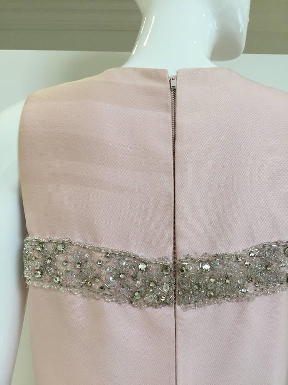 Vintage 1960s Malcolm Starr Light Pink Sleeveles Silk Shift Dress 4