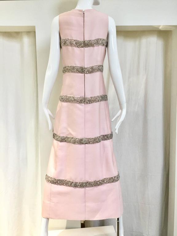 Vintage 1960s Malcolm Starr Light Pink Sleeveles Silk Shift Dress 2