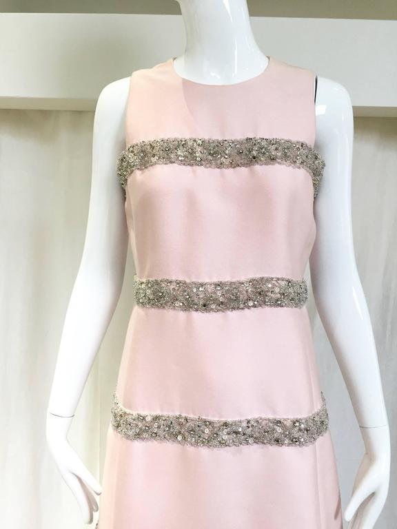 Vintage 1960s Malcolm Starr Light Pink Sleeveles Silk Shift Dress 3