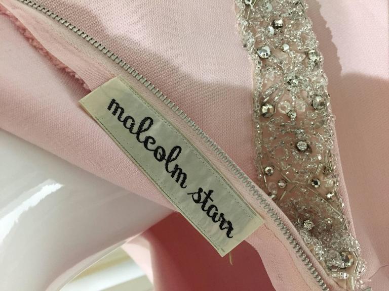 Vintage 1960s Malcolm Starr Light Pink Sleeveles Silk Shift Dress 6
