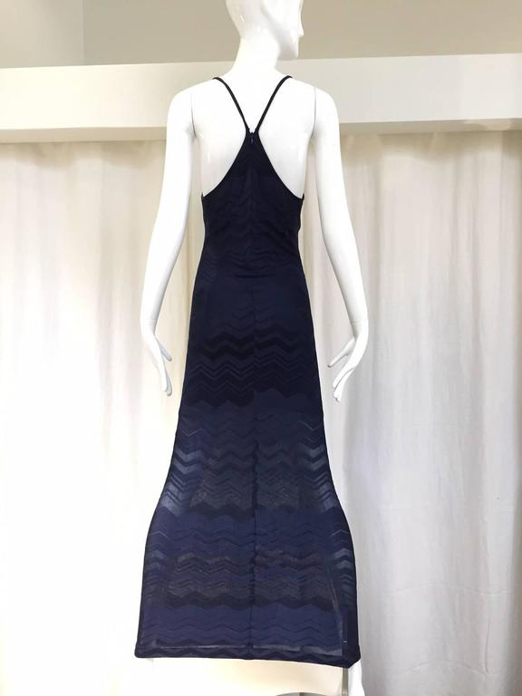 Sexy and sporty 90s Gianfranco Ferre navy blue knit dress with racer back. 
