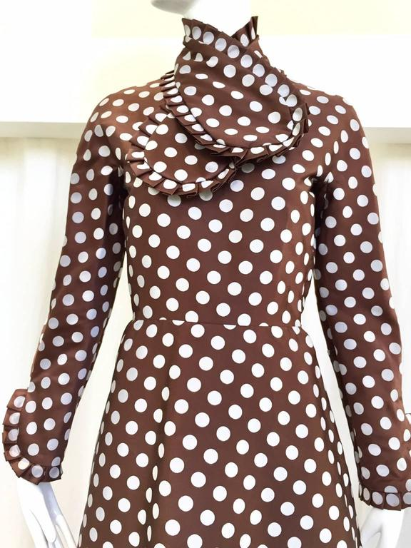 1960s Geoffrey Beene brown and grey silk polkadot mod cocktail dress with neck scarf (detachable) .   Fit Medium size 6  Bust: 36