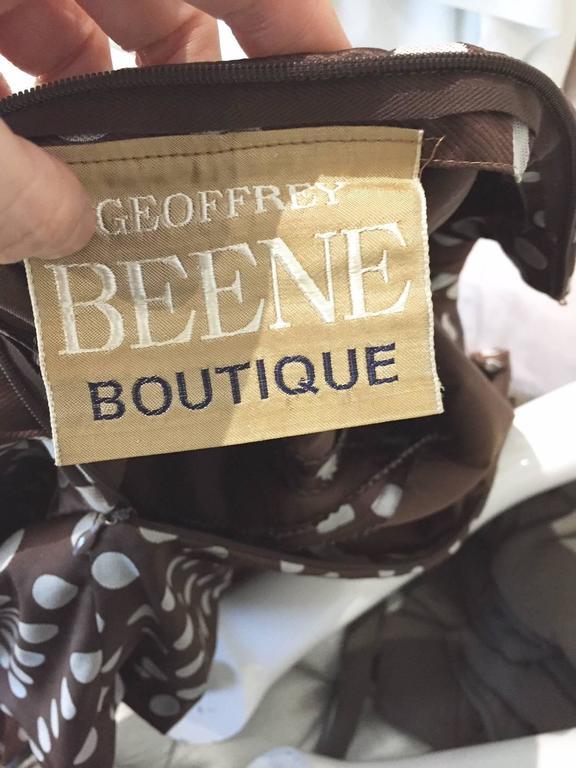 Brown Geoffrey Beene brown and grey silk polka dot dress, 1960s  For Sale