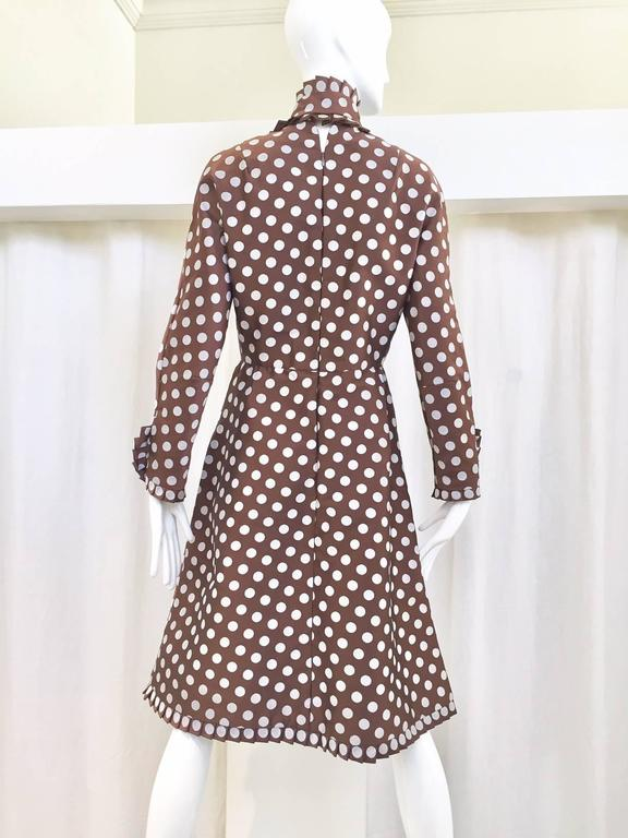 Women's Geoffrey Beene brown and grey silk polka dot dress, 1960s  For Sale