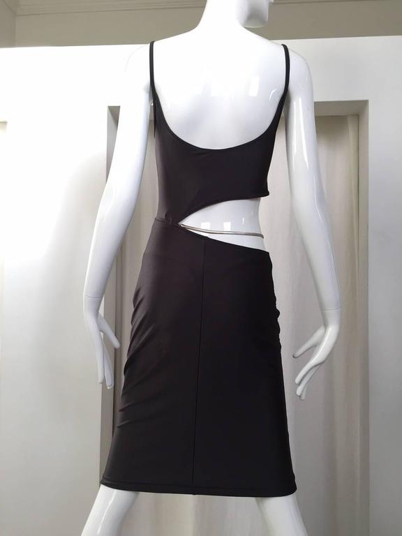 Vintage 1990s Paco Rabanne pewter cut out jersey dress 3
