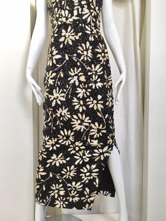 1960s Black And White Floral Sequin Wiggle Dress For Sale