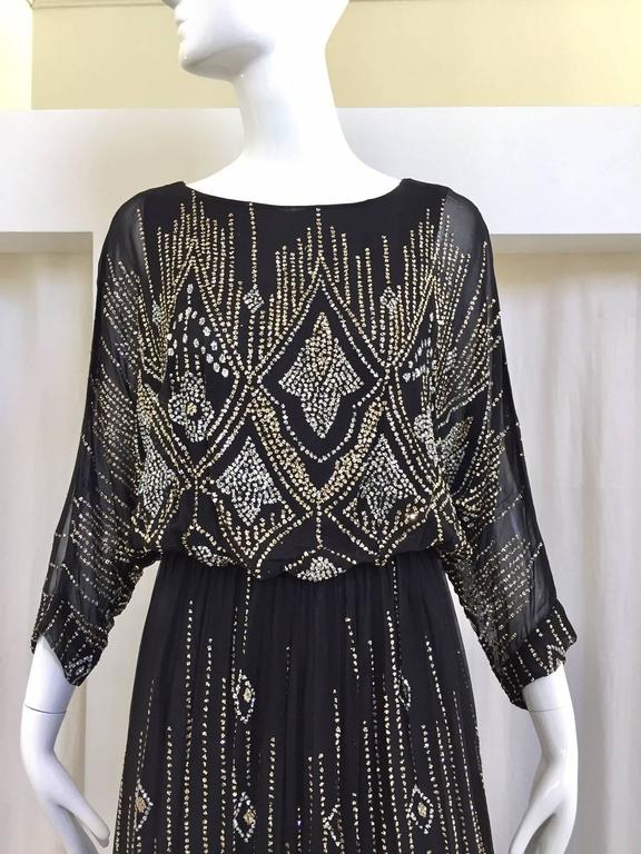 1970s Saks Fifth Ave Black And Silver Metallic Maxi Dress