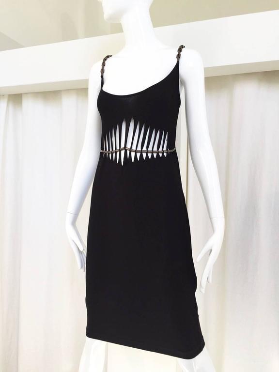 90s Plein Sud Black Rayon Cut Out Spaghetti Strap Dress