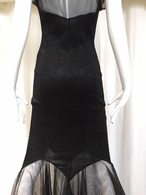 Incredible KARL LAGERFELD Black Knit Mermaid Dress with Tulle Sleeve and Hem For Sale 3