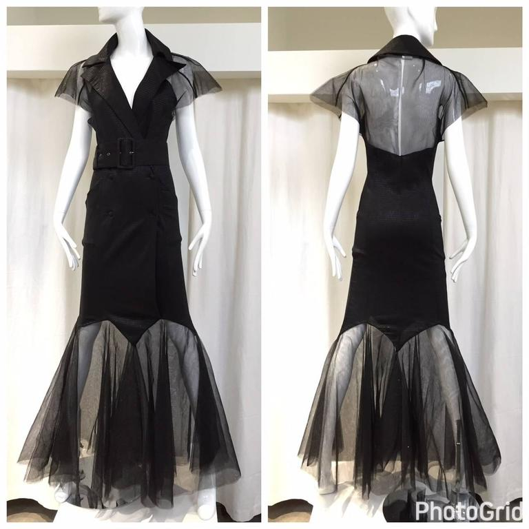 Incredible KARL LAGERFELD Black Knit Mermaid Dress with Tulle Sleeve and Hem In Excellent Condition For Sale In Beverly Hills, CA