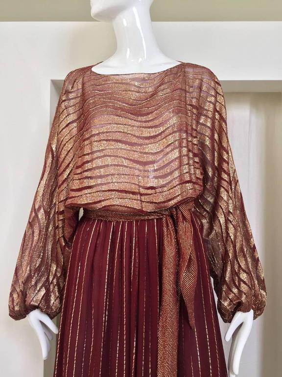 1970s BILL BLASS Burgundy Metallic Silk Maxi Dress In Excellent Condition For Sale In Beverly Hills, CA