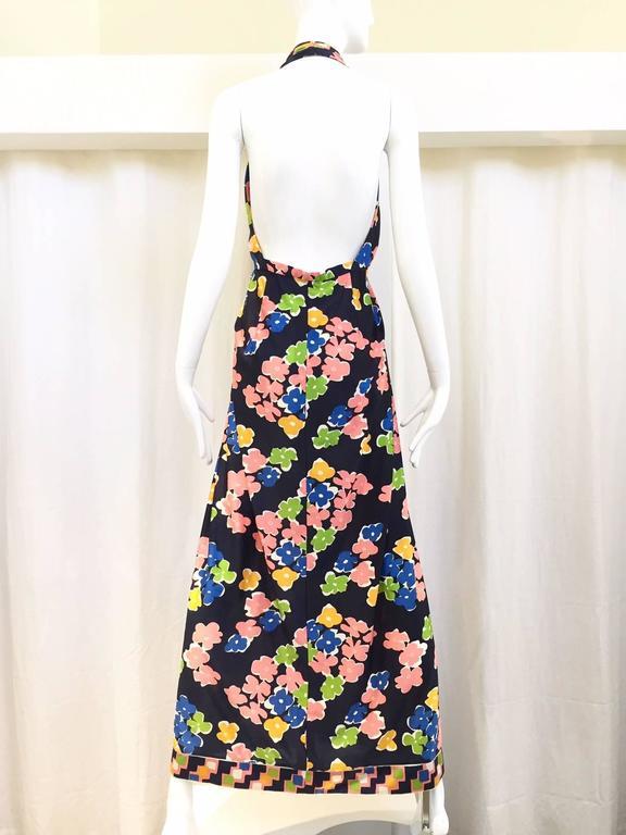 Black 1970s OSCAR DE LA RENTA navy blue floral print halter jersey dress For Sale