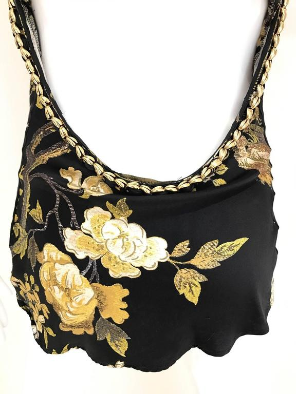 Black Roberto Cavalli black and gold floral print  silk print halter chain top For Sale