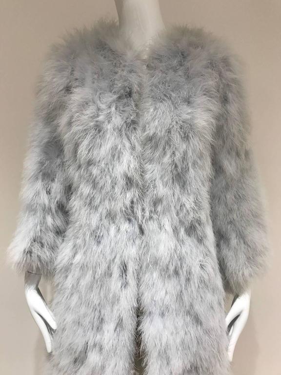 Vintage 1970s Vicky Valere light blue feather coat  2