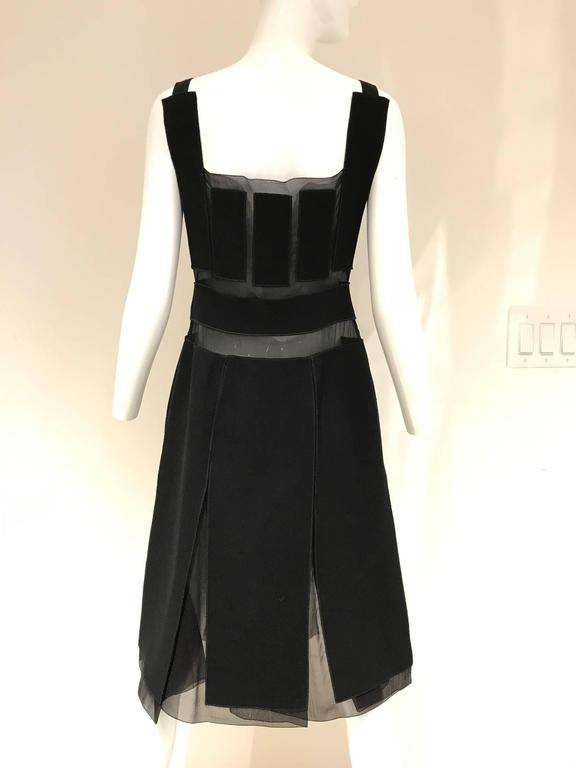 Vintage Prada black crepe and silk sheer panel cocktail dress In Excellent Condition For Sale In Beverly Hills, CA