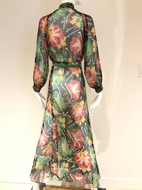 1930s Floral print silk chiffon dress  2