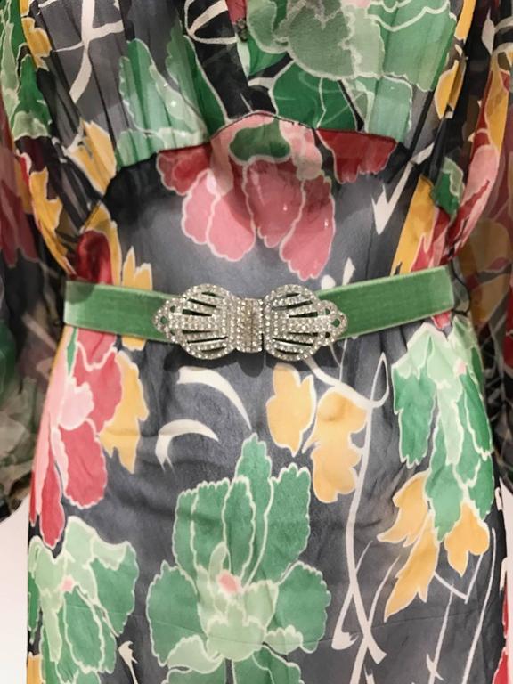 1930s Floral print silk chiffon dress  3
