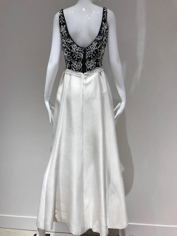 1960s Malcolm Starr Black and Off White Sleeveless Beaded Vintage ...