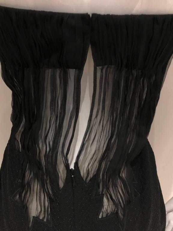 1990s Gianni Versace black silk sheer strapless cocktail mini dress 4
